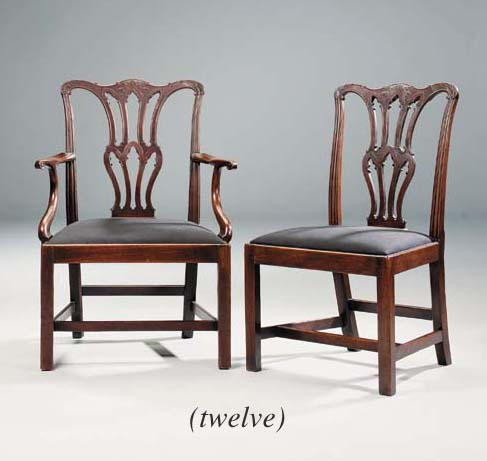 A SET OF TWELVE MAHOGANY DINING-CHAIRS