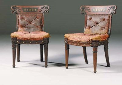 A PAIR OF REGENCY BRASS-INLAID
