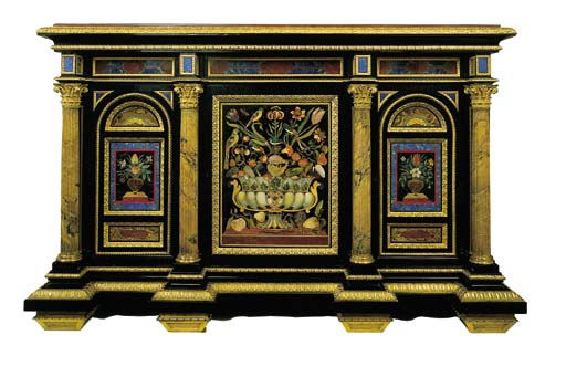 A GEORGE IV ORMOLU-MOUNTED EBO