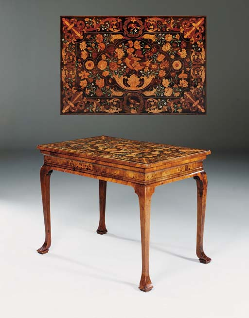 A GEORGE I WALNUT TABLE WITH CHARLES II MARQUETRY TOP