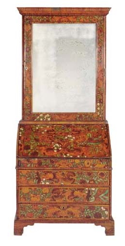 A GEORGE I IVORY-INLAID WALNUT AND FLORAL MARQUETRY BUREAU-CABINET