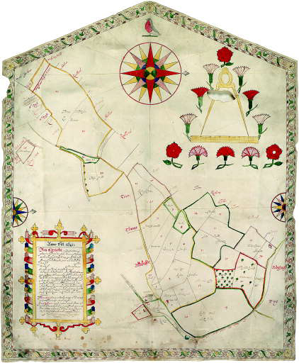 ESTATE PLAN - TAMPON, William (fl.1637-). An exact and perfect Survey plotte and description of the Manor of Nawton in the County of Suff[olk]. 1641.