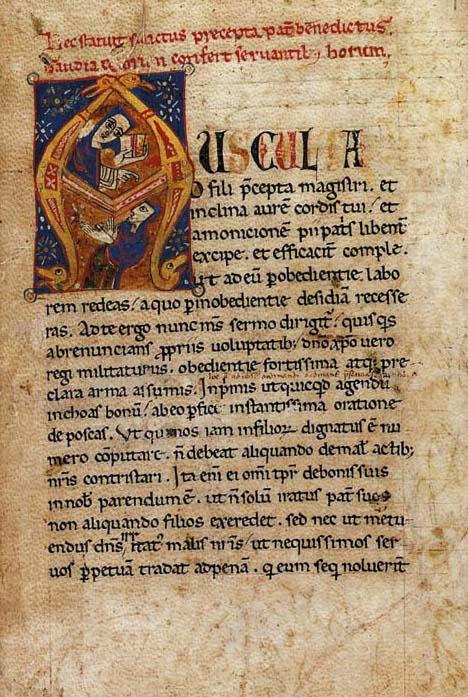 ST BENEDICT (c.480-c.550). Regula, in Latin. Calendar and obituary of the Benedictine abbey of St Mary at Vangadizza, in Latin, ILLUMINATED MANUSCRIPT ON VELLUM