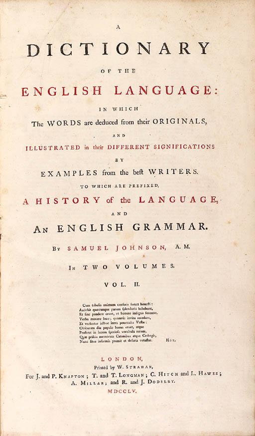 JOHNSON, Samuel (1709-1784).