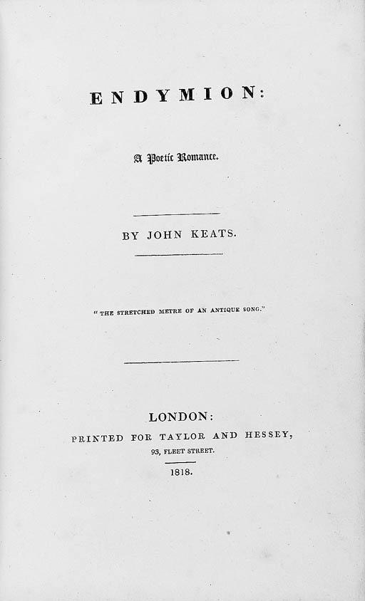 KEATS, John (1795-1821). Endym