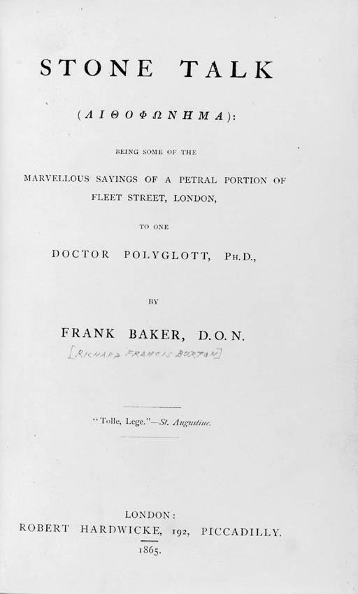 [BURTON, Sir Richard Francis (