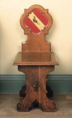An early Victorian oak hall ch