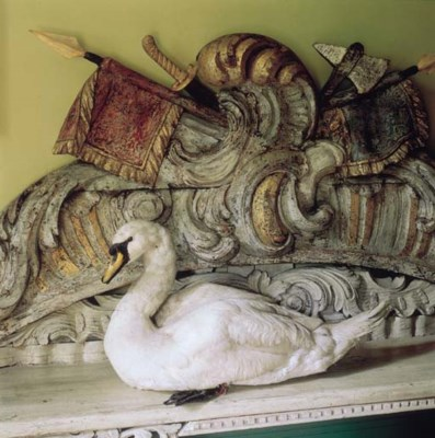 A stuffed swan