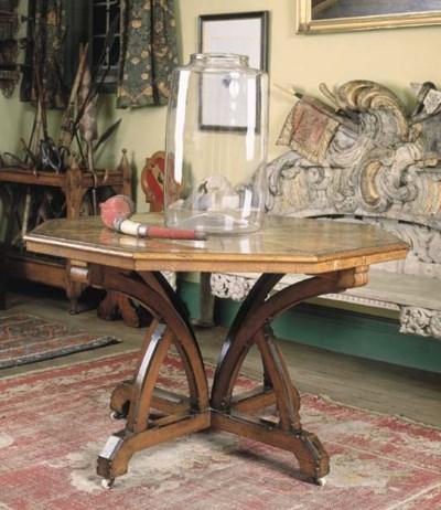 A mid-Victorian oak centre tab