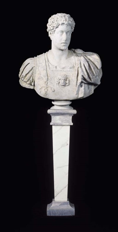 AN ENGLISH CARVED MARBLE BUST