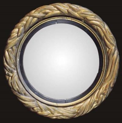 A Regency giltwood convex mirr