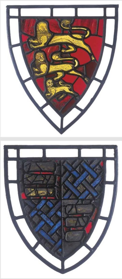 A pair of stained glass panels