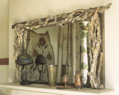 A rustic giltwood overmantel m