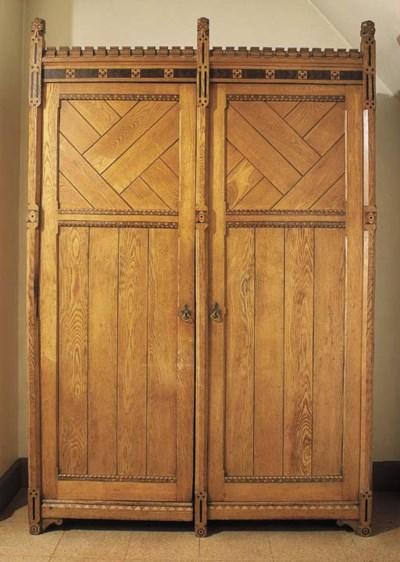 A Victorian oak wardrobe