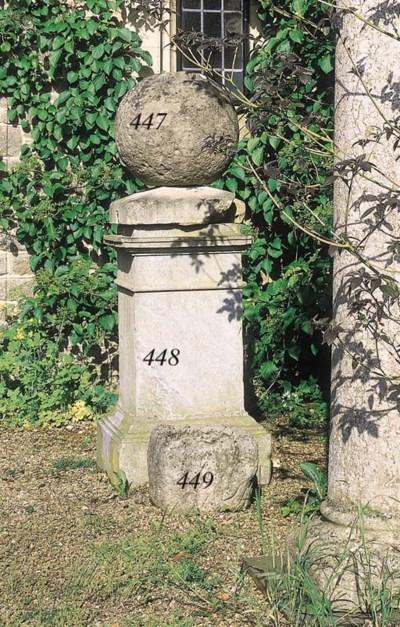 A sculpted stone gate pier fin