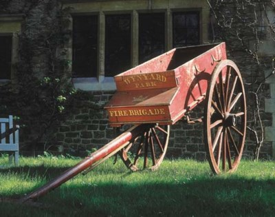 A Victorian red-painted fire b