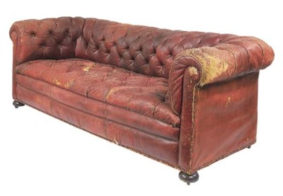 A Victorian buttoned tan leath
