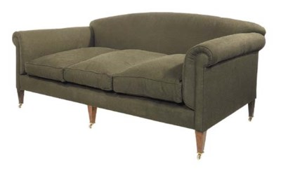 A brown cotton upholstered sof