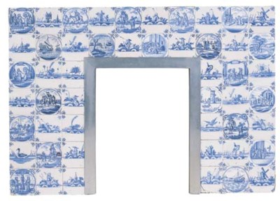 A Delft tiled chimney surround