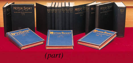 Motor Sport - A good run of bound volumes dating between 1924-1975; volumes 1-51 including June 1929; various bindings, mostly contemporaneous; with index, without advertisements; excellent condition.	 (52)
