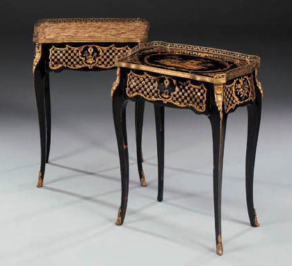 A pair of French ormolu-mounted Japanned side tables