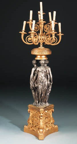 A French gilt-bronze and silve