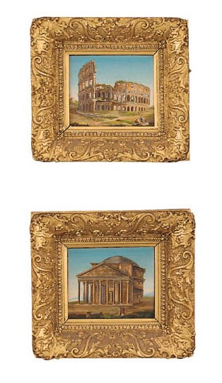 A pair of framed Roman micro-m