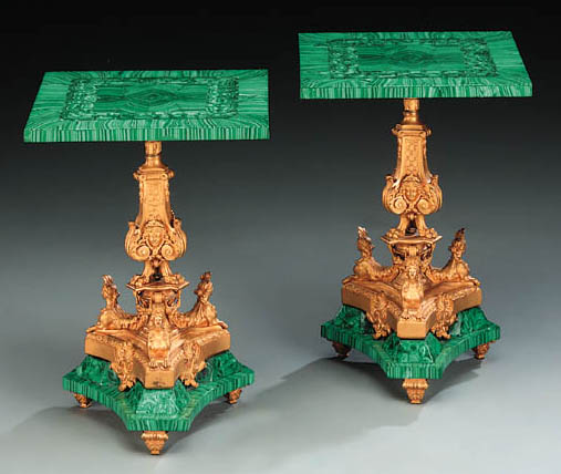 A pair of small gilt-bronze and malachite low tables