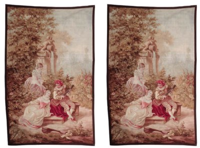 A pair of French tapestries