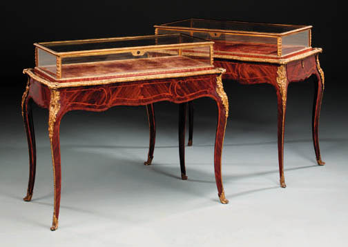 A pair of English ormolu-mouted kingwood and marquetry vitrine tables