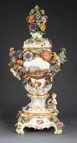 A Meissen porcelain vase and c