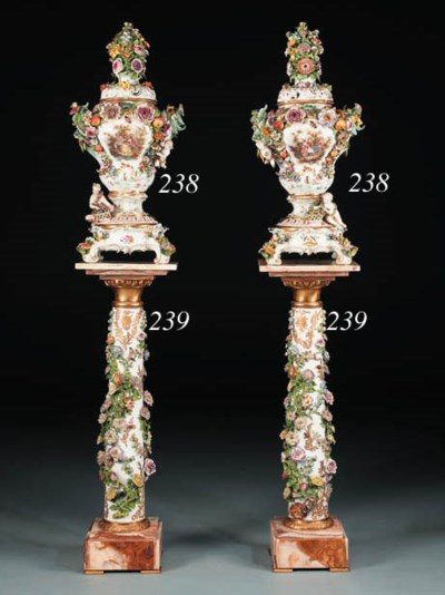 A Pair of Meissen vases and co