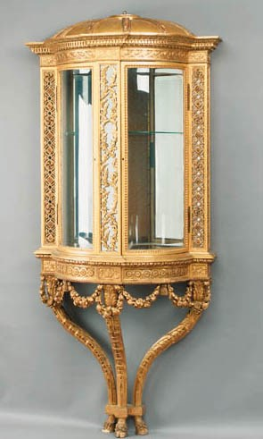 A French giltwood console vitr