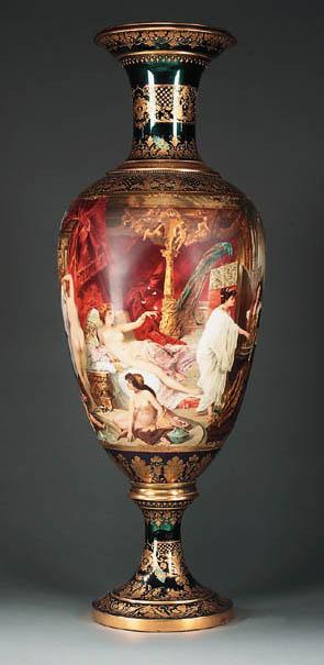 A Viennese parcel-gilt metalic-blue-ground porcelain vase