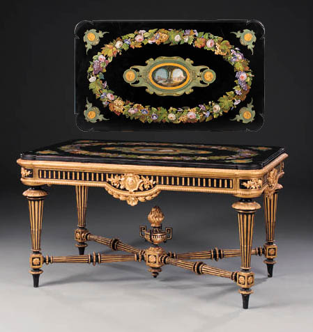 A Roman Micro-mosaic and parcel-gilt black-painted centre table