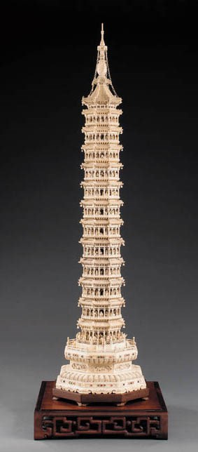 A cased jewelled carved ivory
