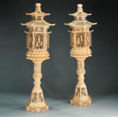A pair of ivory lanterns