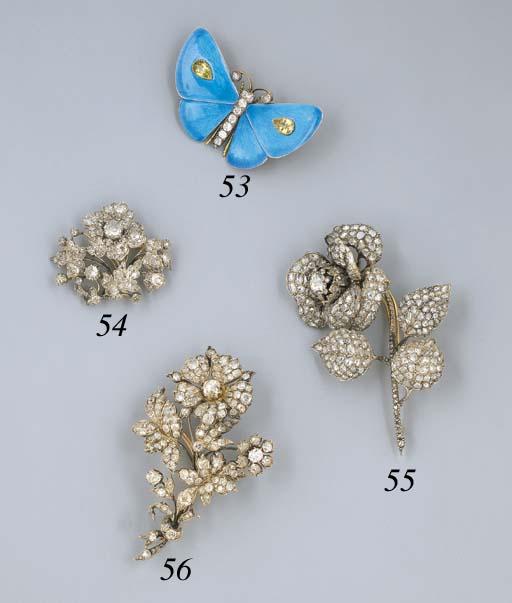 An Antique Diamond Floral Clus