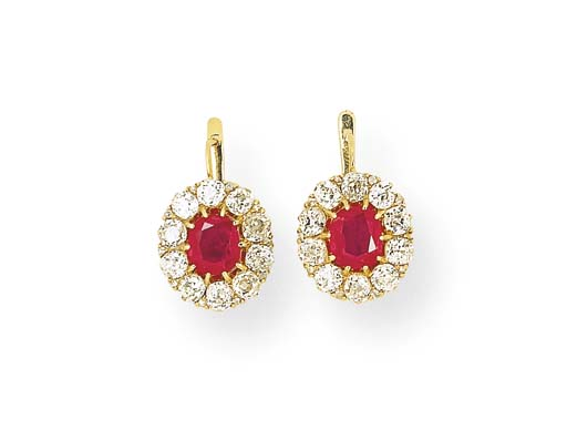 An Pair Of Antique Ruby And Diamond Earrings