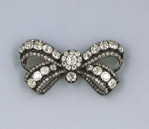 A Fine Antique Diamond Bow Brooch