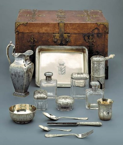 A French silver-gilt travellin