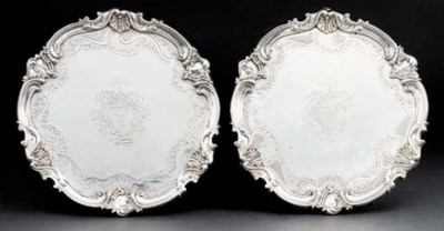 Two George II silver salvers