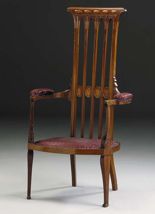 An upholstered armchair