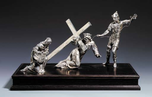 A SILVER GROUP OF CHRIST ON TH