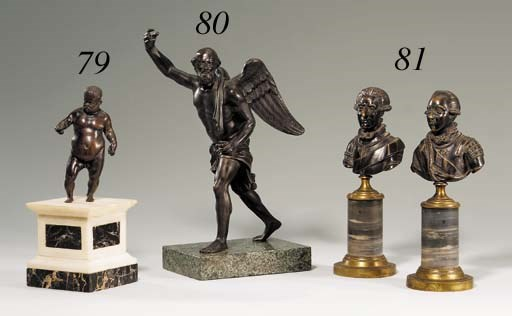 A PAIR OF BRONZE BUSTS OF GENT
