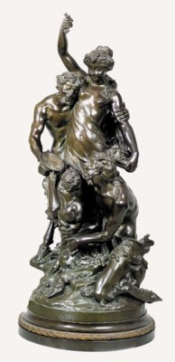 A BRONZE GROUP DEPICTING BACCH