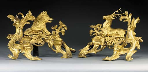 A PAIR OF ORMOLU CHENETS