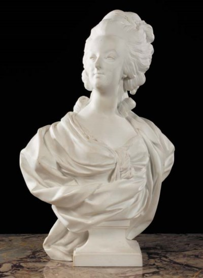 A SEVRES BISCUIT BUST OF QUEEN