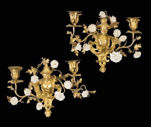 A PAIR OF ORMOLU AND WHITE POR