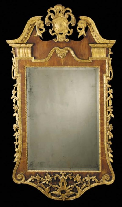A GEORGE II WALNUT AND PARCEL-